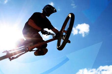成都自行车极限运动表演 跑